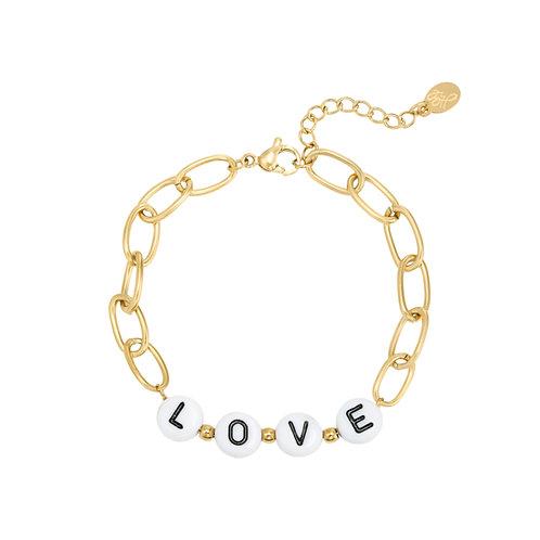 Schakelarmband met letterkralen 'Love' goud