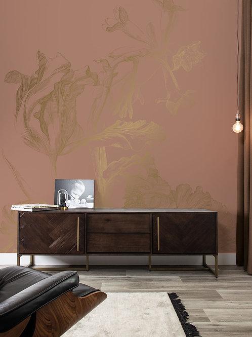 Goud behang Engraved Flowers - MW-022