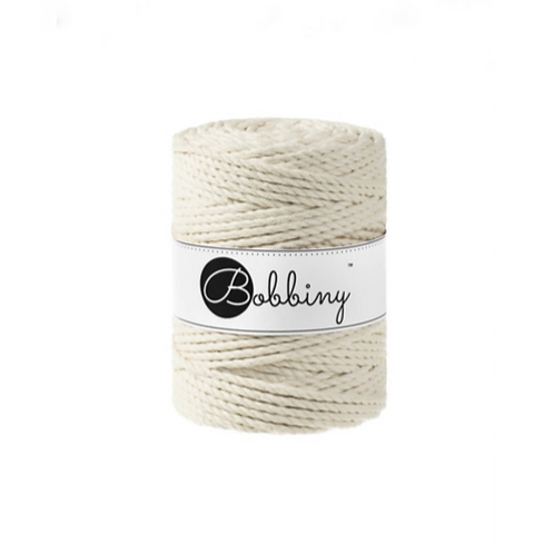 Bobbiny macrame 5mm triple twist - Natural