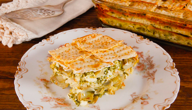 SPINACH, FETA, AND ARTICHOKE MATZO MINA RECIPE