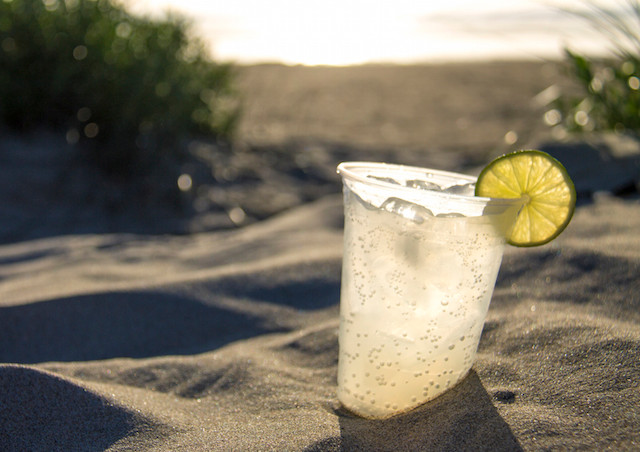 Margaritas on the beach in Manzanita