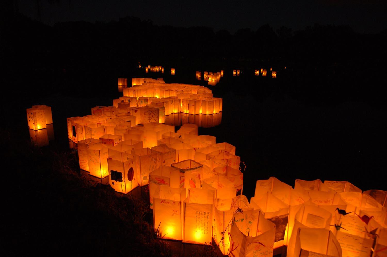 Lanterns on Lake at Night