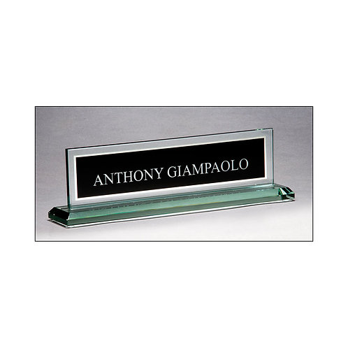 Glass Name Plate with Black Plate