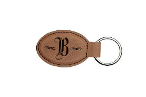 Oval Keychain Leather