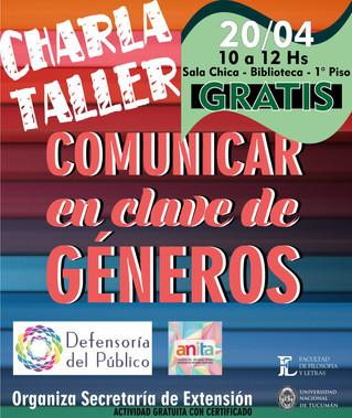 """Charla-Taller """"Comunicar en clave de géneros"""""""