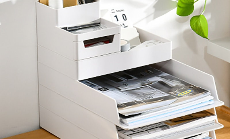Desktop Art File Stack, A4 Document Size, Pen Holder Stationery Storage