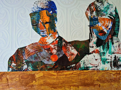 A Seat At The Family Table, 2020           Collage on wooden cradle