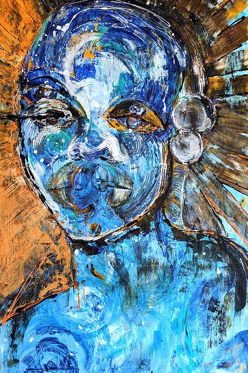 My Ancestors Speak Life Into Me,  2020    Acrylic and diamond dust on wood panel