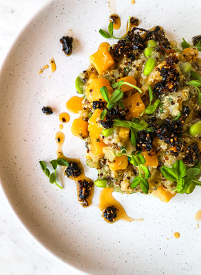 Spicy Butternut Squash Quinotto with Edamame and Numbing Oil