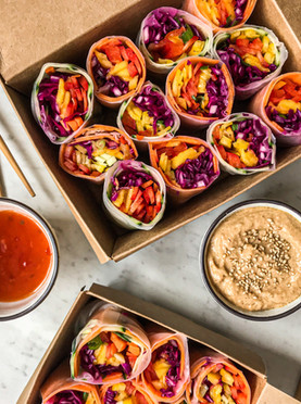 Raw Mango, Sweet Pickled Cabbage & Mini Pepper Rice Paper Wraps with a Satay Dipping Sauce