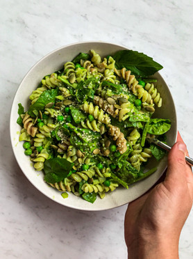 Green Pea Pasta Salad with a Basil, Parsley & Caper Dressing