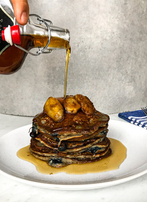 Caramelised Banana & Blueberry Chia Pancakes with Maple Syrup