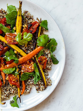 Ginger Roasted Cherry Tomatoes with Cumin Roasted Carrots, Quinoa & a Nectarine Dressing