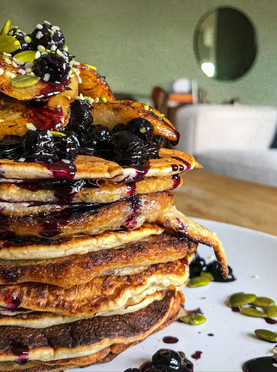 Sourdough Starter Pancakes with Blueberries & Brown Butter Bananas