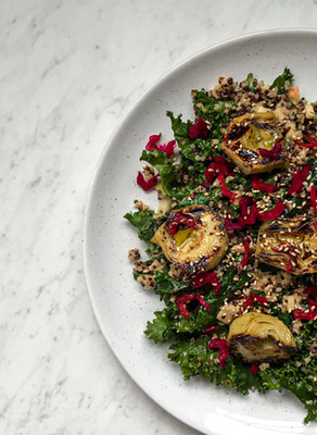 Pan Fried Lemon Artichoke Salad with Quinoa, Kale, Apple & a Deliciously Creamy Dressing