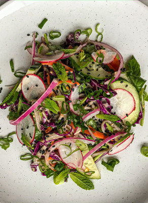 Asian Buckwheat Noodle Salad with Ginger & Chilli  Pickled Cucumber & a Creamy Tahini Dressing