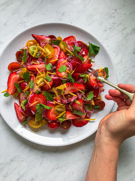 Strawberry, Heirloom Cherry Tomatoes, Pickled Red Onion & Lemon Salad