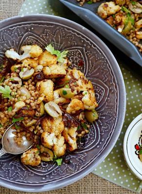 Roasted Cauliflower, Fregola & Raisin Salad