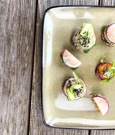 Raw Vegan 'Tuna' Radish & Tomato Canapes