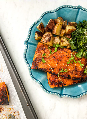 Smokey Roasted Butternut Squash Steaks with Roasted Chipped Potatoes and a Spicy Kale Salad