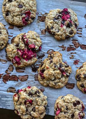 Rhubarb, Ginger & Dark Chocolate Cookies