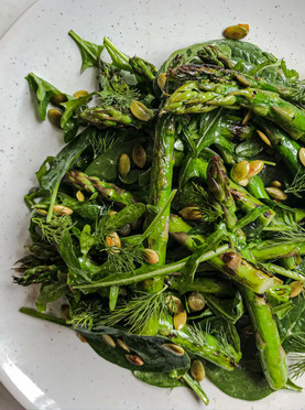 Chargrilled Asparagus Salad with Toasted Pumpkin Seeds, Capers & Dill