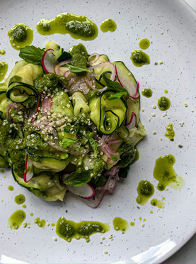 Raw Courgette Fettuccini Salad with Parsley & Basil Pesto, Pickled Shallots & Sliced Radish