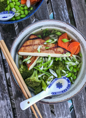 Marinated & Barbecued Tofu with Miso & Ginger Ramen