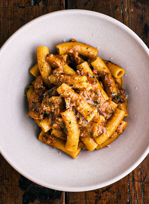 Veggie Filled Bolognese with Rigatoni