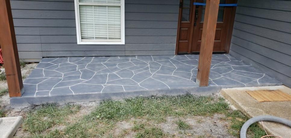 Concrete flagstone porch