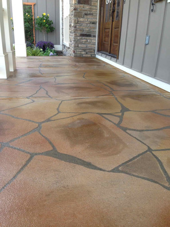 Concrete flagstone patio
