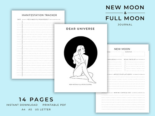 New Moon and Full Moon Journal | Printable | Download