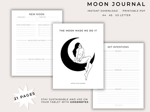 Moon Journal | Moon Planner Pages | Printable | Digital PDF Download | Goodnotes