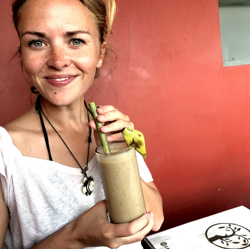 A plant based banana smoothie, from The Earth Cafe. A little pricey for what you get, but delicious.