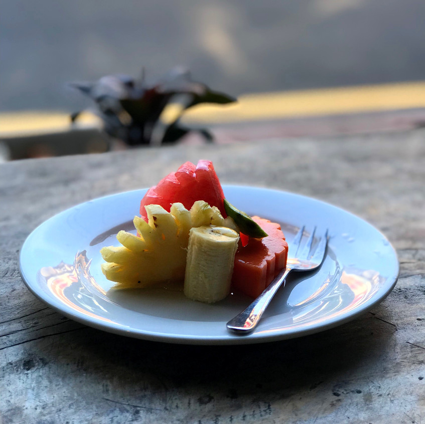 """Tropical fruit is so abundant and delicious in Bali. Here, a typical """"starter"""" for breakfast."""