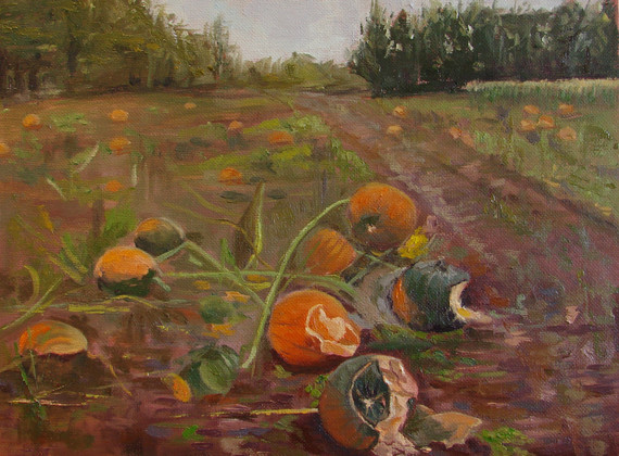 """After Harvest. Oil on Canvas Board. 9""""x12"""""""