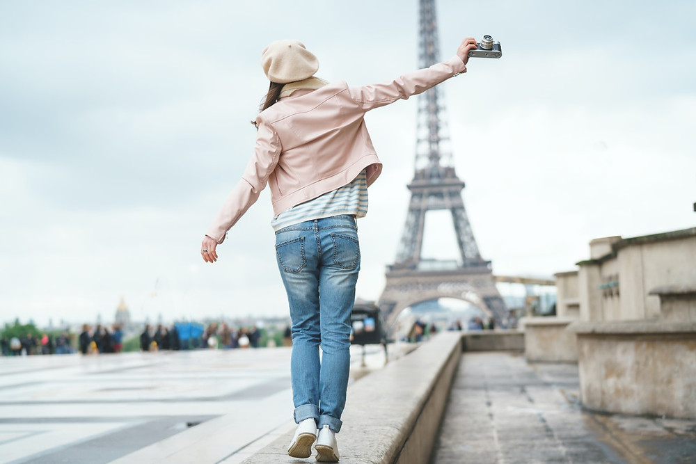 Woman having fun in Paris