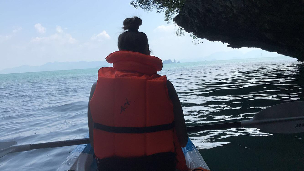 Kayaking off the beach of Koh Yao Noi in the Thai Islands