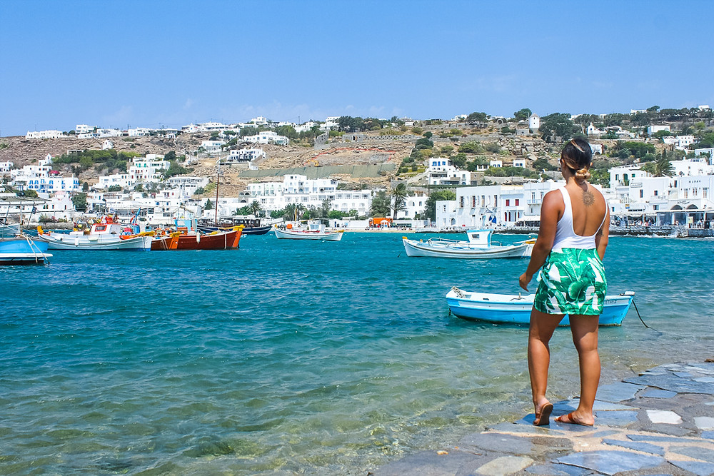 Sea view of Mykonos Old Town Greece