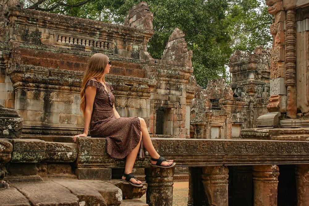 Women Travels Angkor Wat Temple Siem Reap Cambodia