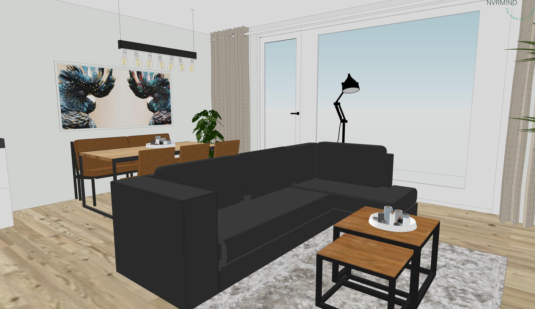 3D ontwerp presentatie woonkamer