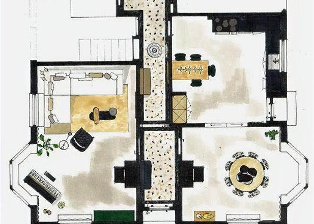 Plattegrond met indeling vrijstaande villa