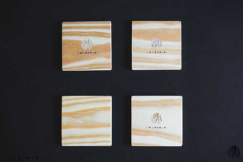 SQUAREY wood coasters / 1set = 4pcs