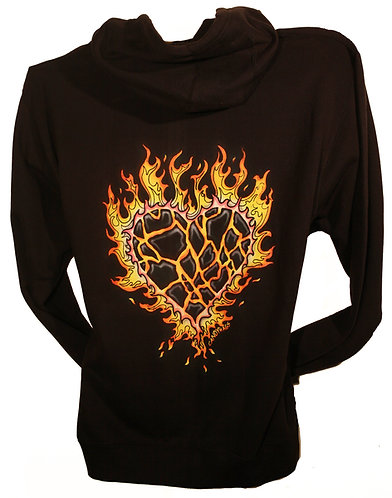 Blazing Heart Black zip up hoodie