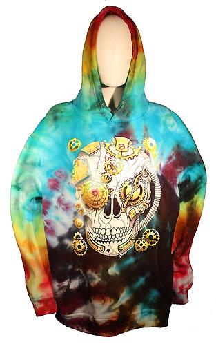Steampunk Skull ice dye hoodie XL