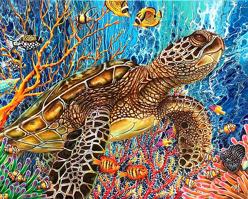 Sea Turtle in underwater paradise