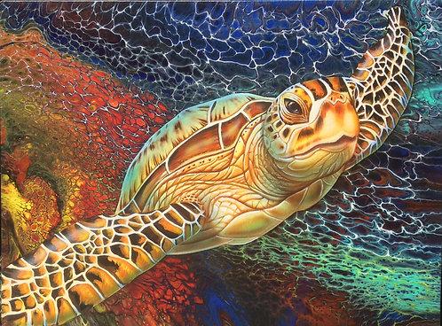Flying Green Sea Turtle