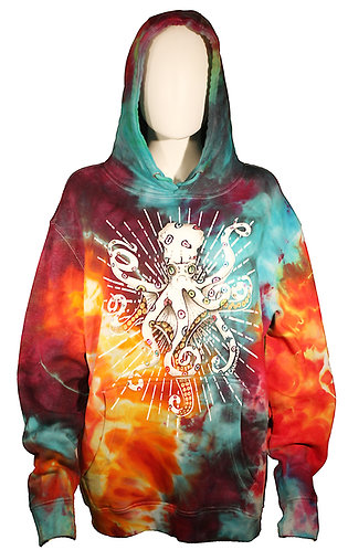 """Fruit Loops"" Octopus ice dyed hoodie"