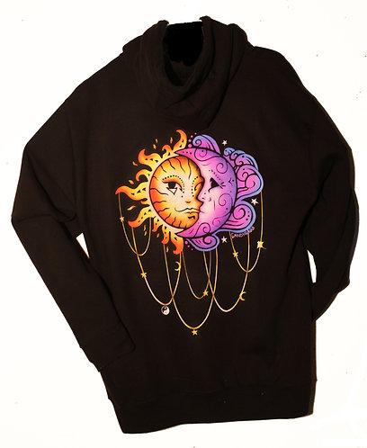Sun/Moon Black zip up hoodie