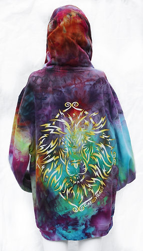 Ice Dye Golden Lion pullover hoodie size L